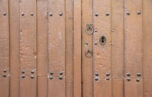 ancient brown wooden door
